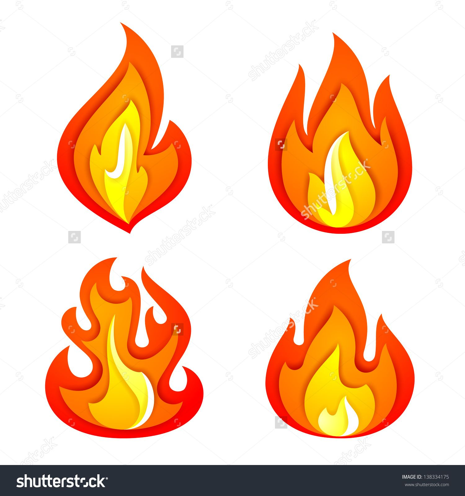 Fire Flames Isolated Stock Vectors & Vector Clip Art