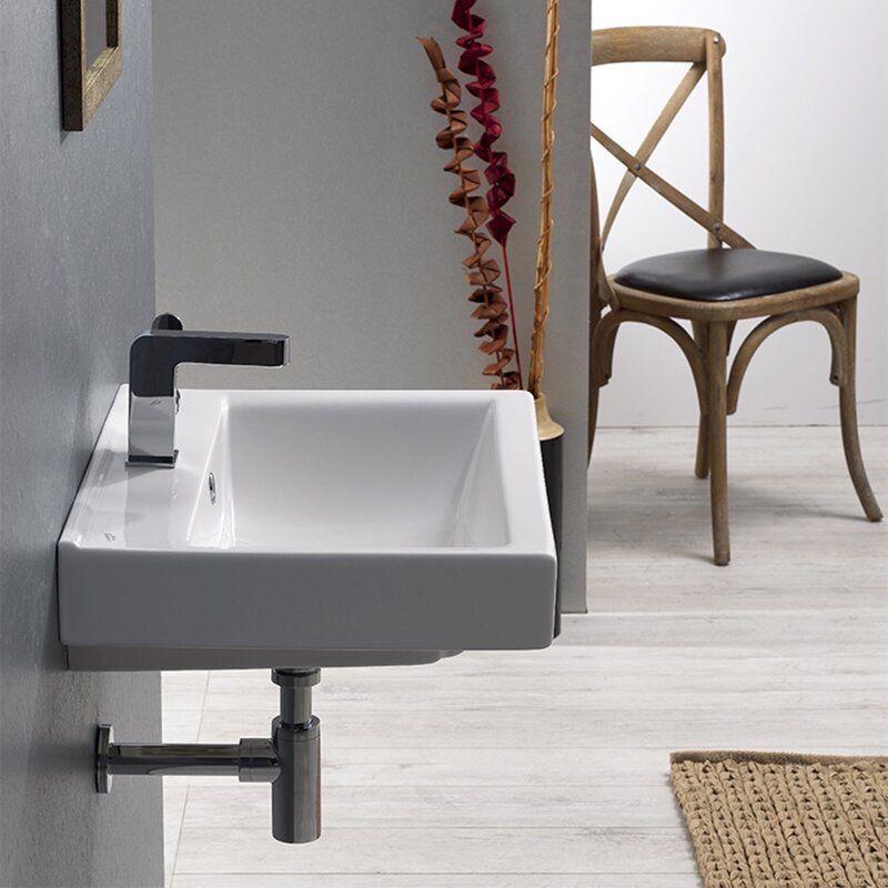 Mona Ceramic Rectangular Drop In Bathroom Sink With Overflow Reviews Allmodern Drop In Bathroom Sinks Wall Mounted Bathroom Sinks Modern Style Bathroom How to install a drop in bathroom sink