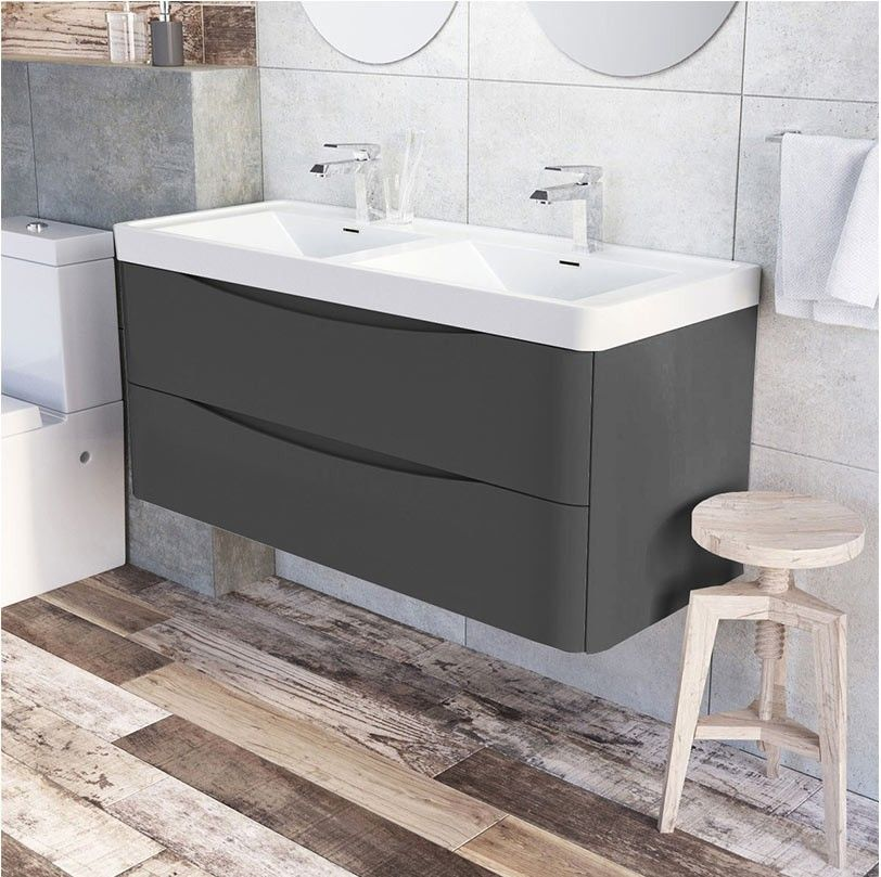 Motiv 1200mm Wall Mounted Grey Gloss Double Basin Vanity Unit Double Basin Vanity Unit Basin Vanity Unit Bathroom Vanity Units Uk