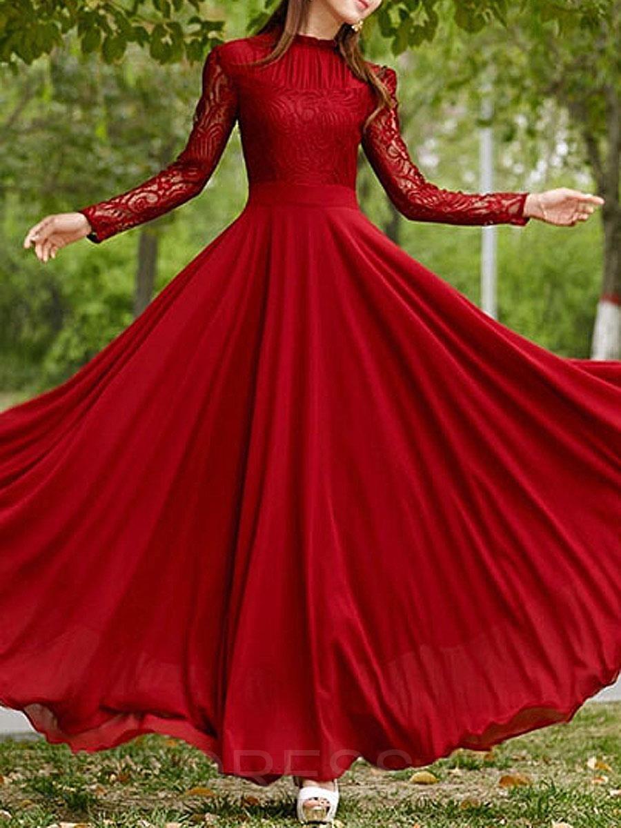 1989d222861 Ericdress Plain Lace Patchwork Expansion Maxi Dress Maxi Dresses ...