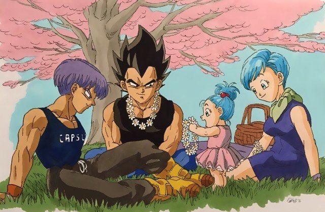 Artist Dulali Deviantart Vegeta Bulma Trunks Bulla Familygoals Socute Vegebul Flowers Db Vegeta And Bulma Anime Dragon Ball Dragon Images