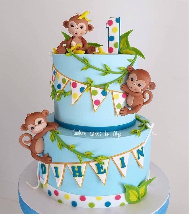 Monkey Cake Monkey Baby Shower Cake Monkey Birthday Cakes Birthday Cake Kids Baby Birthday Cakes