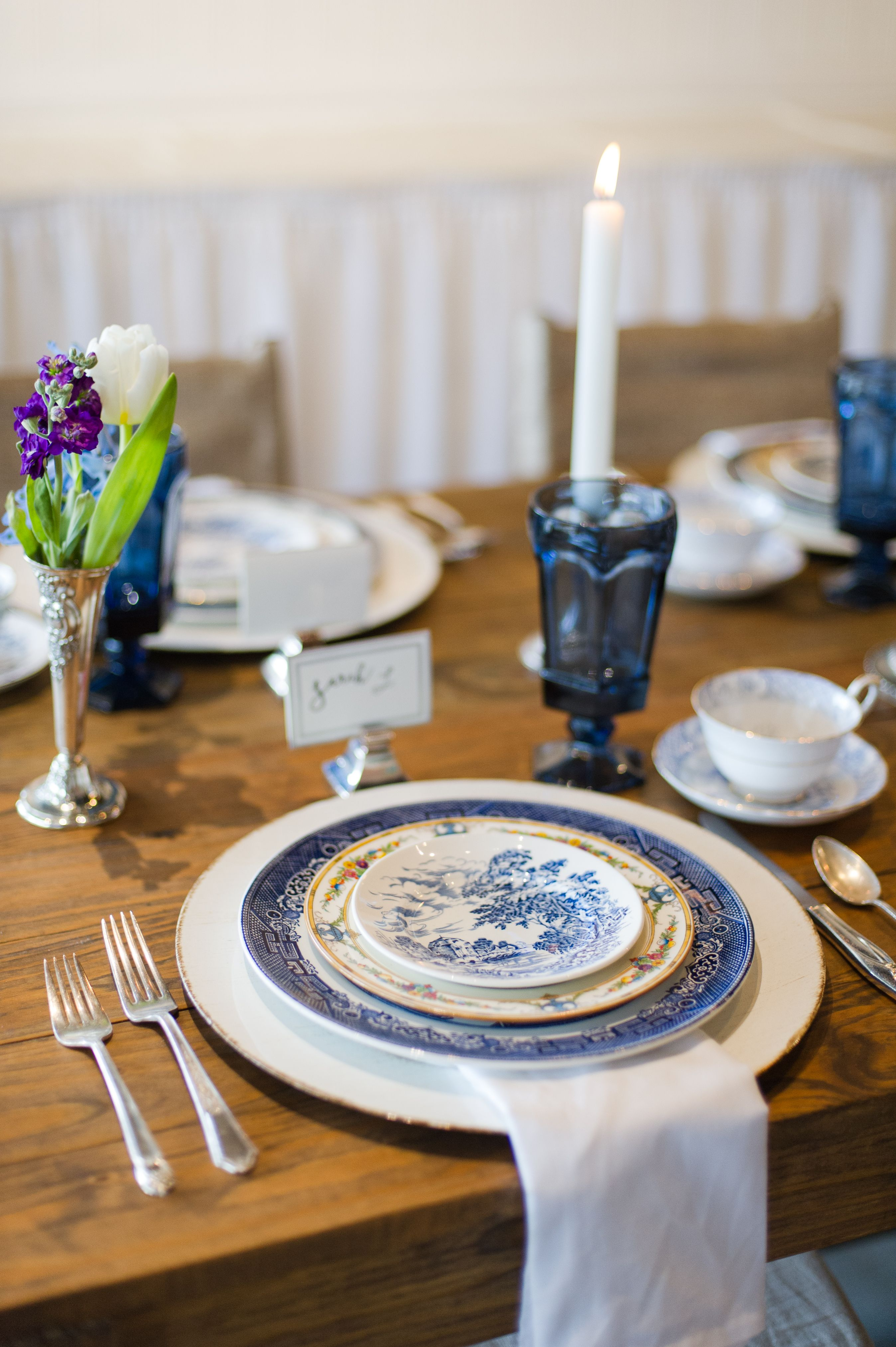 Classic English Blue And White China Vintage Blue Glassware And Silver Plate Flatware From Tea And Old Ros With Images Wedding Rentals Vintage Tableware Alabama Weddings
