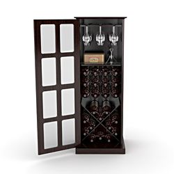Overstock.com - Espresso Windowpane 24-bottle Wine Cabinet This ...