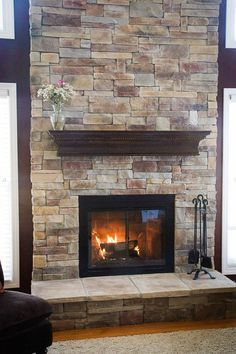 brick veneer fireplace - Google Search