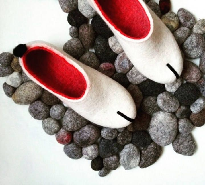 Felted Slippers Scandinavian Modern Women Home Shoes White Red Natural Slippers Eco Fashion Traditional Felt 100 Wool Shoe Felted Slippers Wool Shoes Slippers