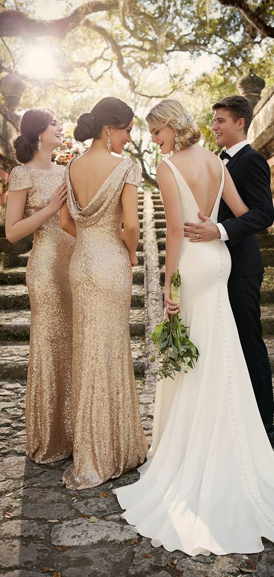 60 Perfect Low Back Wedding Dresses | Gold bridesmaids, Gold ...