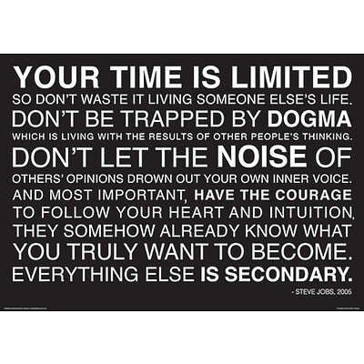 (12x16) Your Time Is Limited - Steve Jobs Quote Poster - Prints