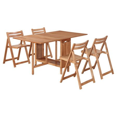 Wood-framed dining set with 4 chairs that fold and store inside the