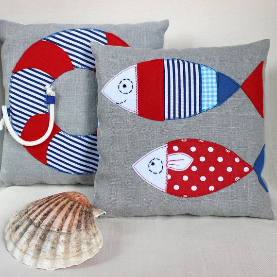 Photo of Nautical Baby Pillow, Nautical Nursery Decor, Sailor Baby gift, Linen Applique Cushion, Baby Shower Gift, Kids Room Decor, Red and Blue