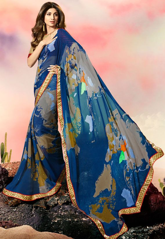 e4d10a7851 Shilpa Shetty Prussian Blue and Grey Saree in 2019 | Printed Sarees ...