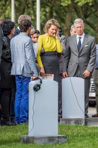 Queen Mathilde of Belgium and King Philippe of Belgium during the inauguration of a temporary war memorial at the Schelde river, in Antwerp, 03.10.2014.