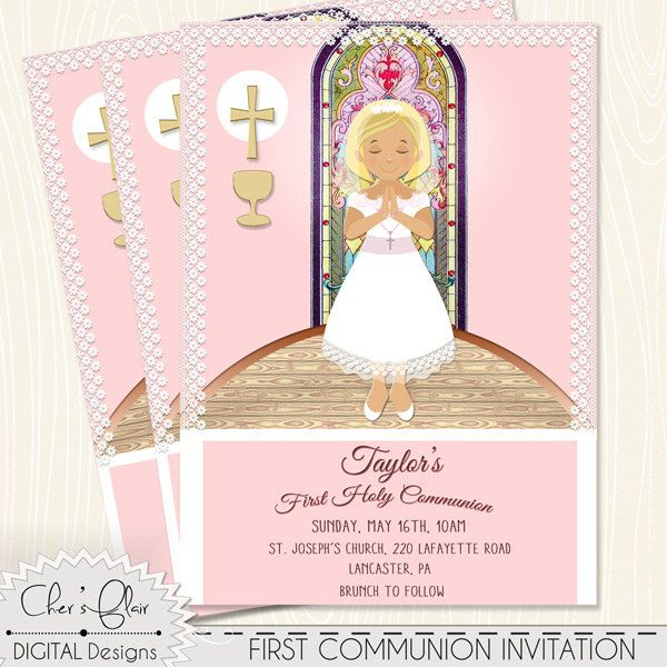 first communion invite girl first holy communion invitation girl