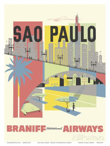 Sao Paulo, Brazil - Braniff International Airways Julisteet AllPosters.fi-sivustossa