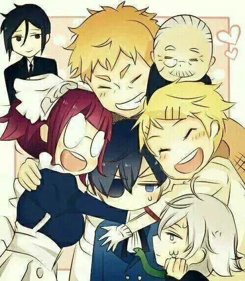 The Phantomhive servants ^-^ What is snake doing there... -_- he is my favorite tho
