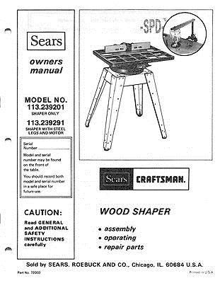 Details about 1982 Craftsman 113.239201 Wood Shaper