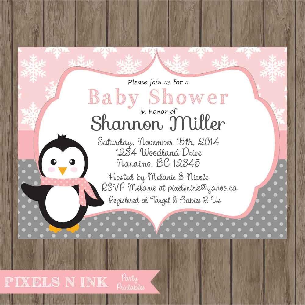CUSTOMIZABLE PRINTABLE DIY Sweet Little Girl Penguin Baby Shower ...