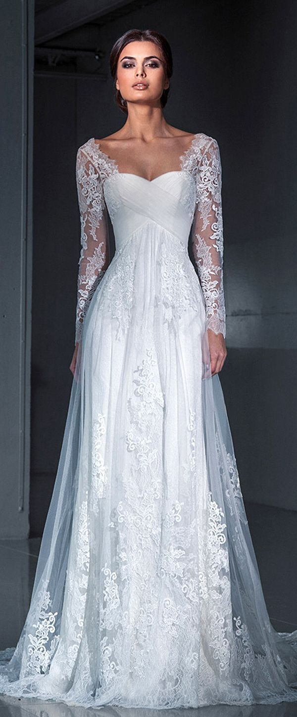 Glamorous Tulle Scoop Neckline A Line Wedding Dresses With Lace Appliques Long Sleeve Bridal Dresses Wedding Dress Long Sleeve Long Sleeve Wedding Dress Lace [ 1450 x 600 Pixel ]