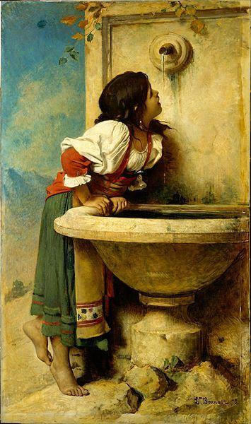 Roman Girl with a Fountain, Leon Bonnat, 1875.