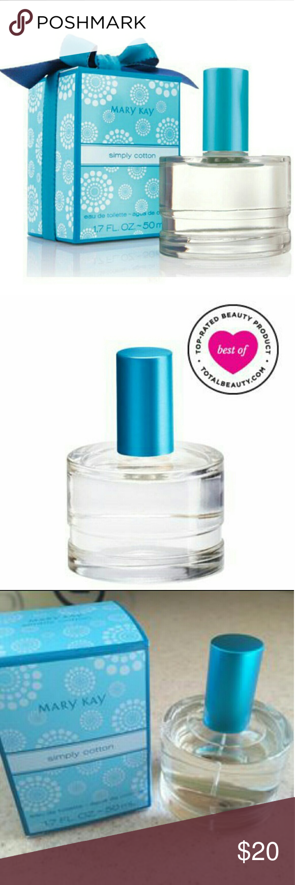 """Mary Kay Perfume Simply Cotton  1.7 oz Eau de Toilette  Only opened for picture   """"Light, crisp refreshing scent, featuring lotus and cotton flower"""" Perfect scent for spring! Discontinued, hard to find product Mary Kay Makeup"""