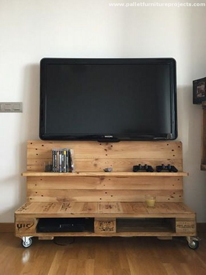Reused Wood Pallet Tv Stand With Shelves Moveis Pallet Moveis