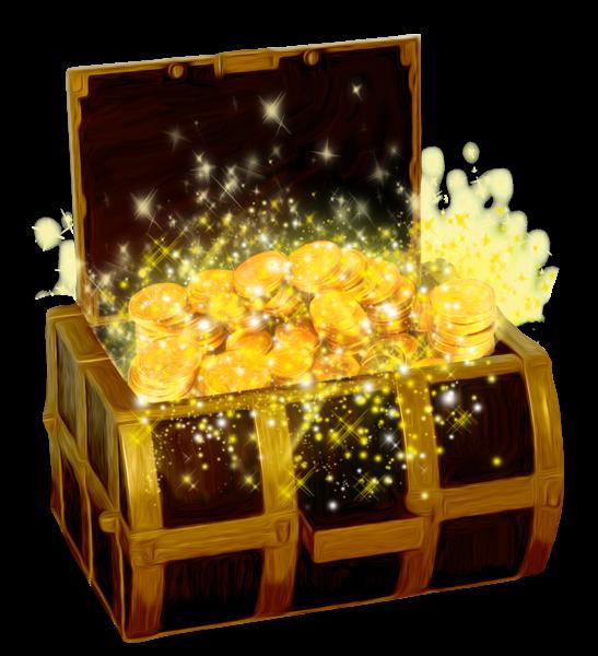 Сундук с сокровищами с золотых монет PNG изображение клипарта