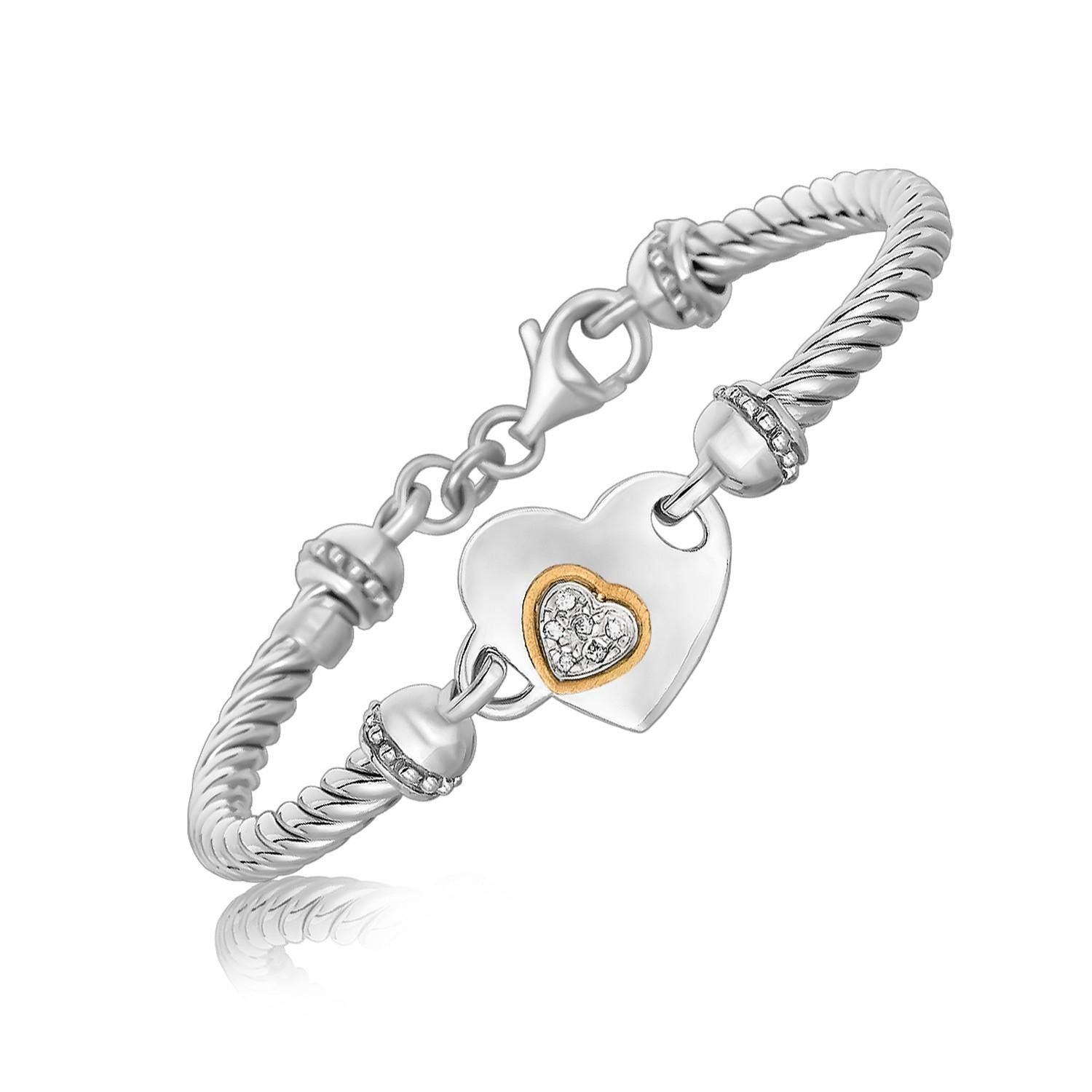 K Yellow Gold and Sterling Silver Heart Design Bracelet with