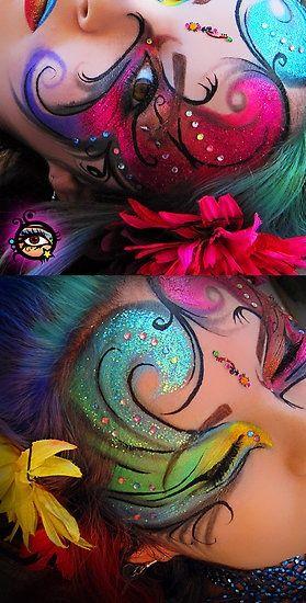 Photo of WOW – Buntes künstlerisches Fantasy-Make-up mit Kristallen und einem Bindhi, Titel …