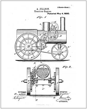 J. I. Case Traction Engine 10 X 13 patent drawing print