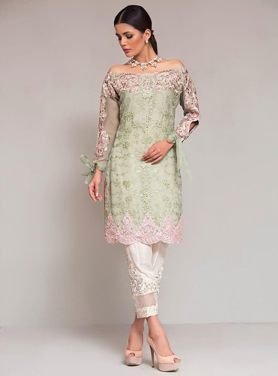 498c477b3e Mint off shoulder in 2019 | Pakistan Fashion | Pakistani dresses ...