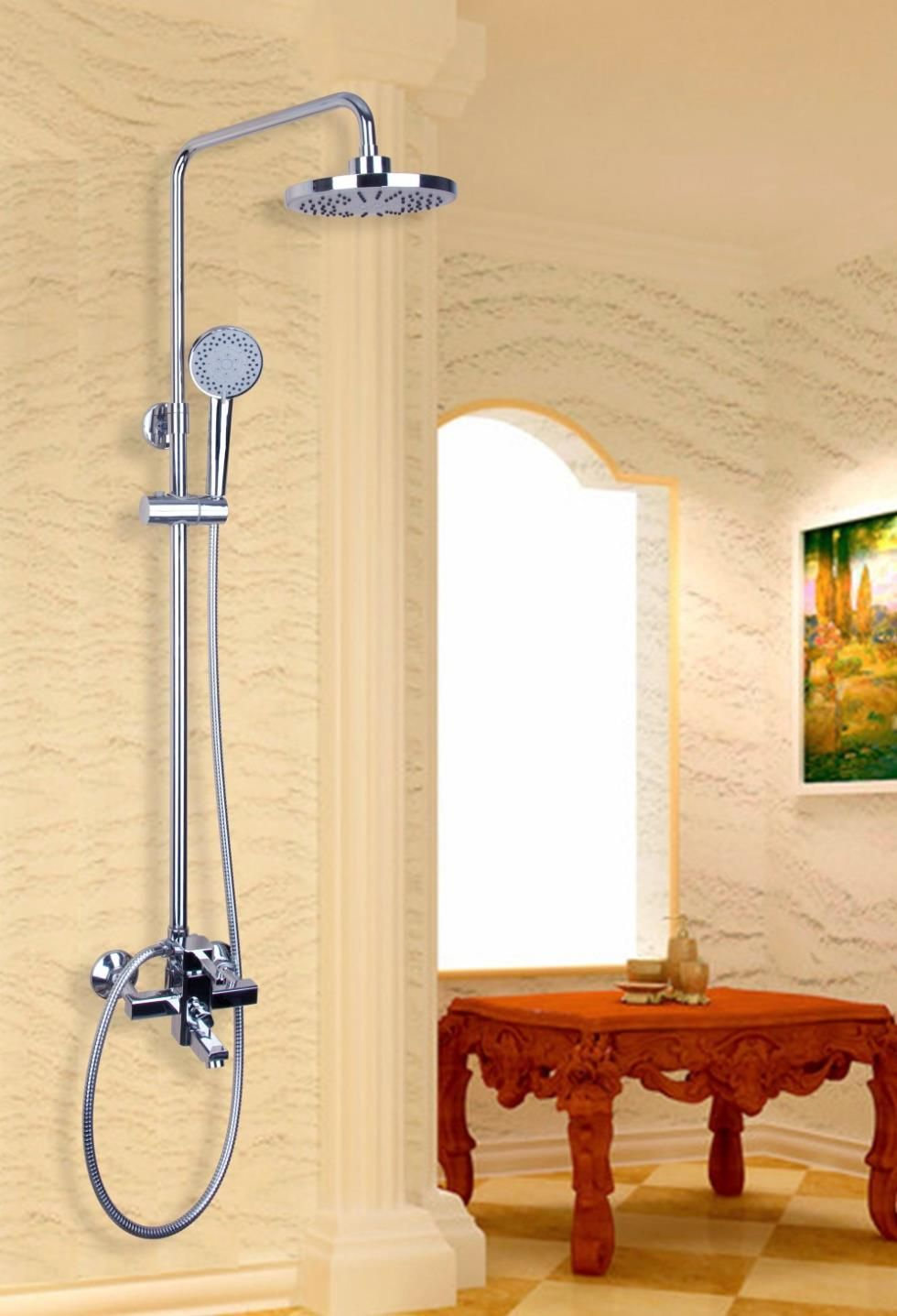 53101 Luxury Wall Mounted Bathroom Rain Shower Faucet Head Set Wall ...