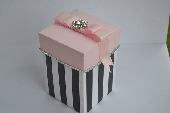 Pink And Black Stripe Gift Box With Bling Party By Sandyscandybags