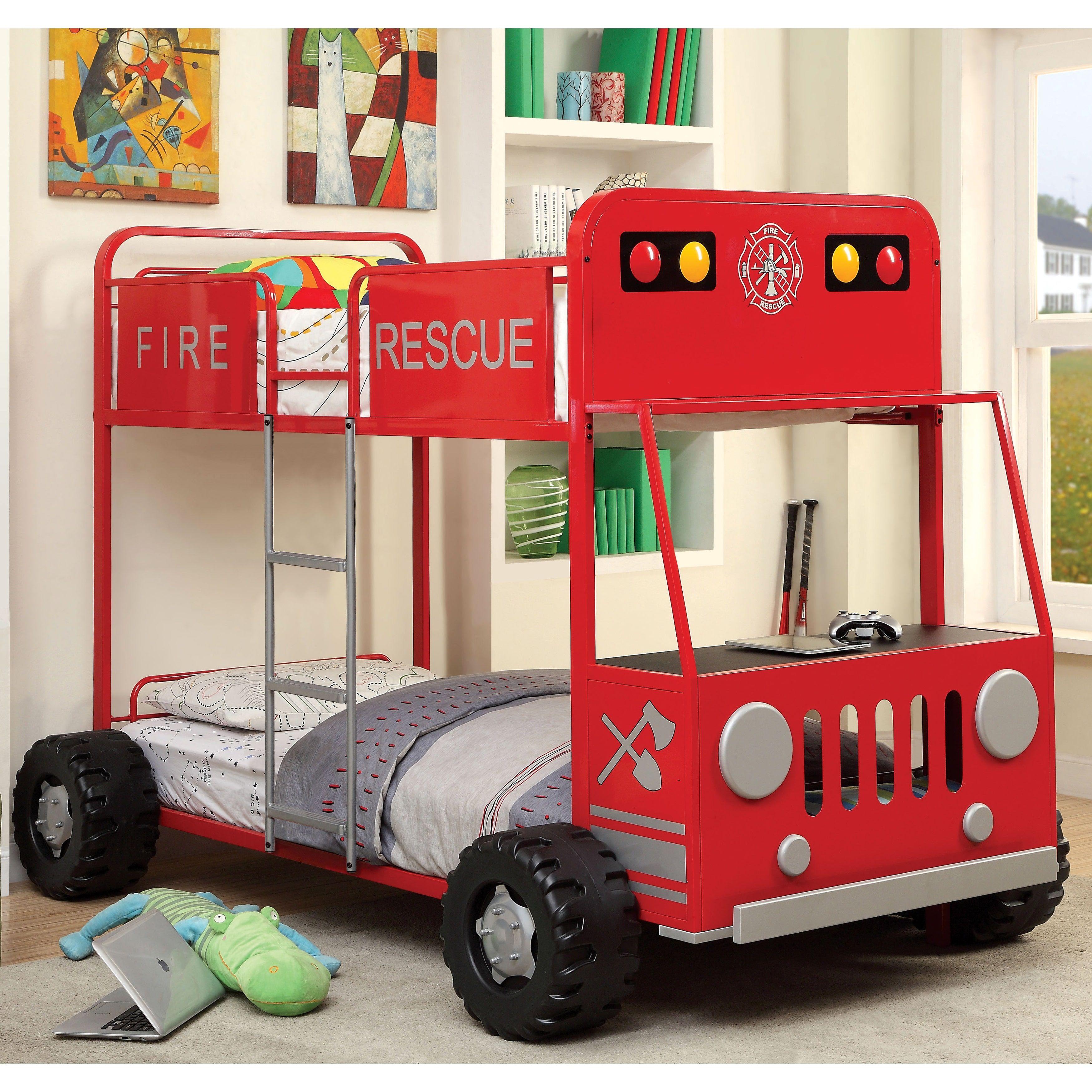 Furniture of America Rescue Team Fire Truck Metal / Bunk
