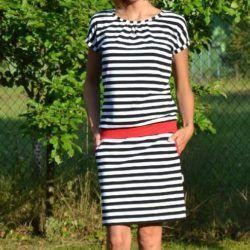 Střih na letní dámské úpletové šaty  1a3f3634ef
