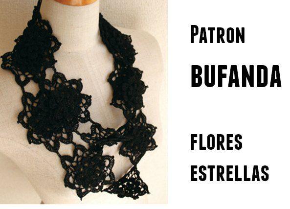 Patrones Crochet: Bufanda flores estrella patron | Crochet,Tejer y ...