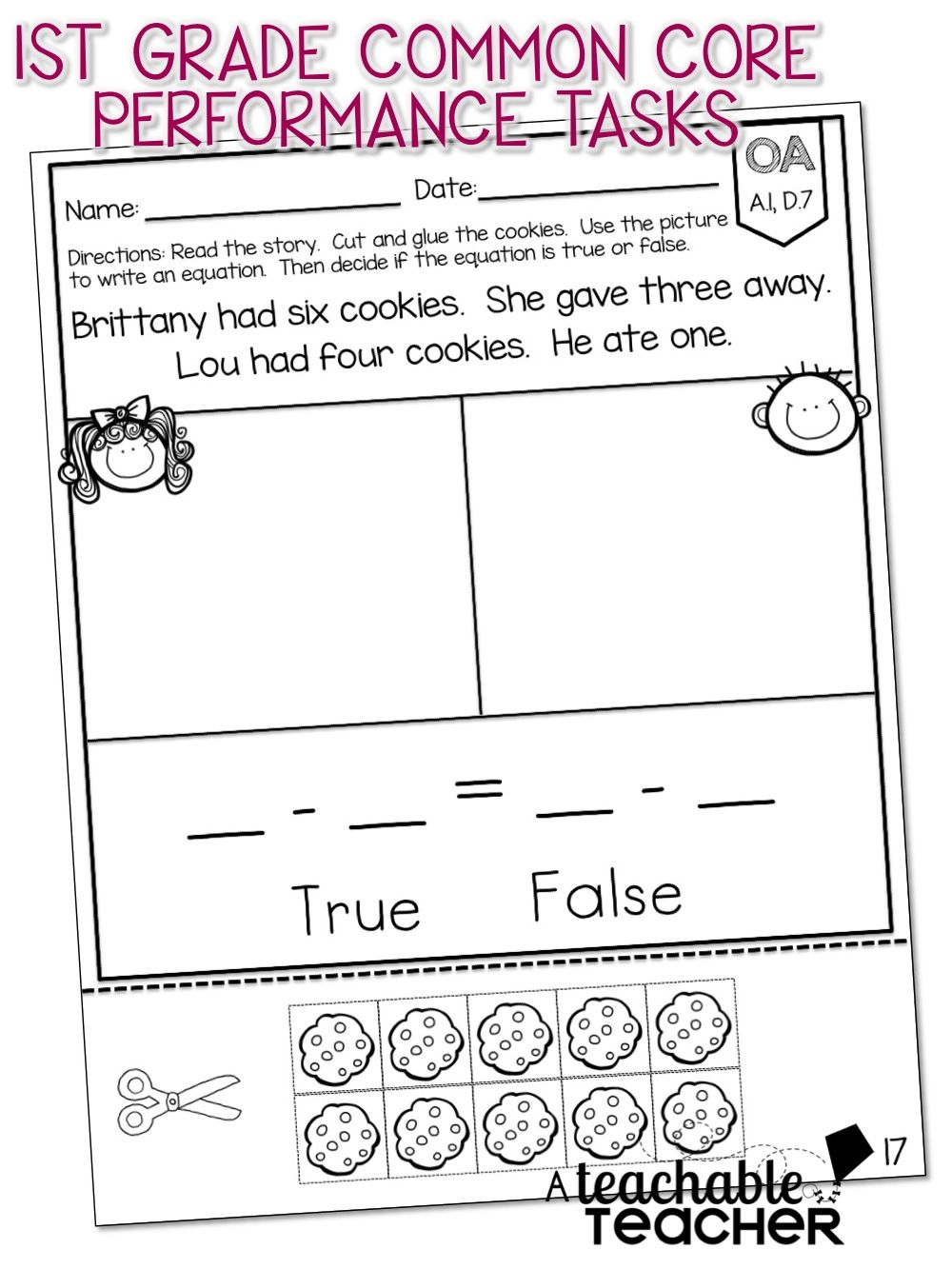 Worksheets Common Core First Grade Math Worksheets first grade common core math equation and cores math
