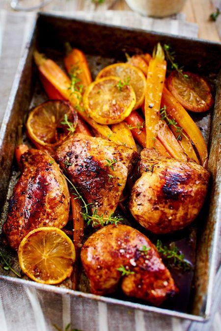 Ofenhähnchen mit Möhren Wenn das gesamte auf einem Blech zubereitet wird sind alle glücklich Großartiger Geschmack wenig Abwasch und eine ganz entspa...