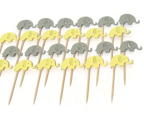 24 Elephant Cupcake Toppers Yellow And Gray Baby Shower Decorations