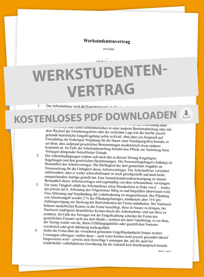 Mustervertrag Für Werkstudenten I Marktde Vertrag Muster