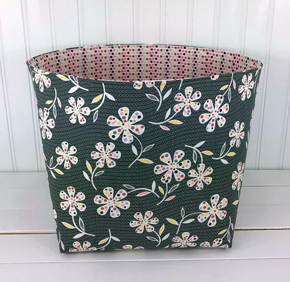 Nursery Decor 10 X 10 Large Storage Bin Organizer Basket Bin Flowers Floral Fabric Basket Fabric Storage Baskets Large Storage Bins Large Storage Baskets