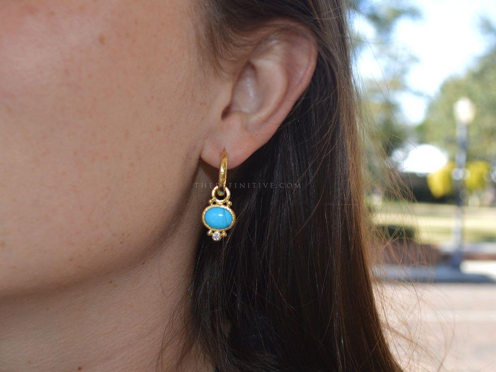 Elizabeth Locke Turquoise & Diamond Earring Pendants cFeIg
