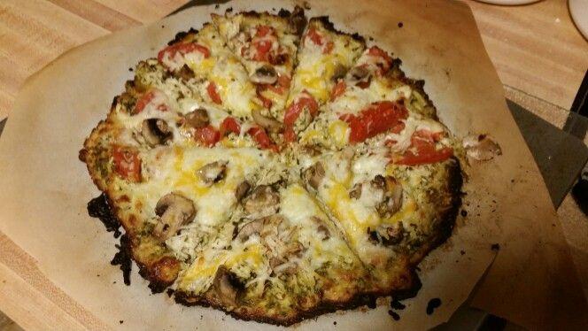 Bruschetta (tomatoes and basil pesto) chicken and mushroom pizza on cauliflower pizza crust.  Yummmmmy!!