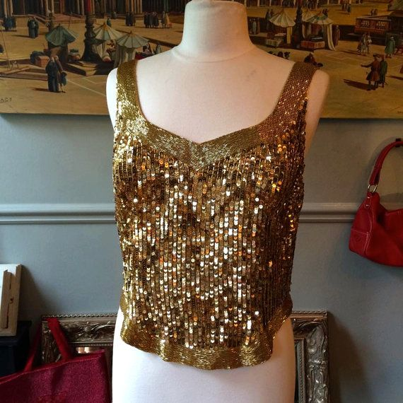 Fabulous Early 80's David Farrin Vintage Gold Sequin Top by by MissBizioCouture
