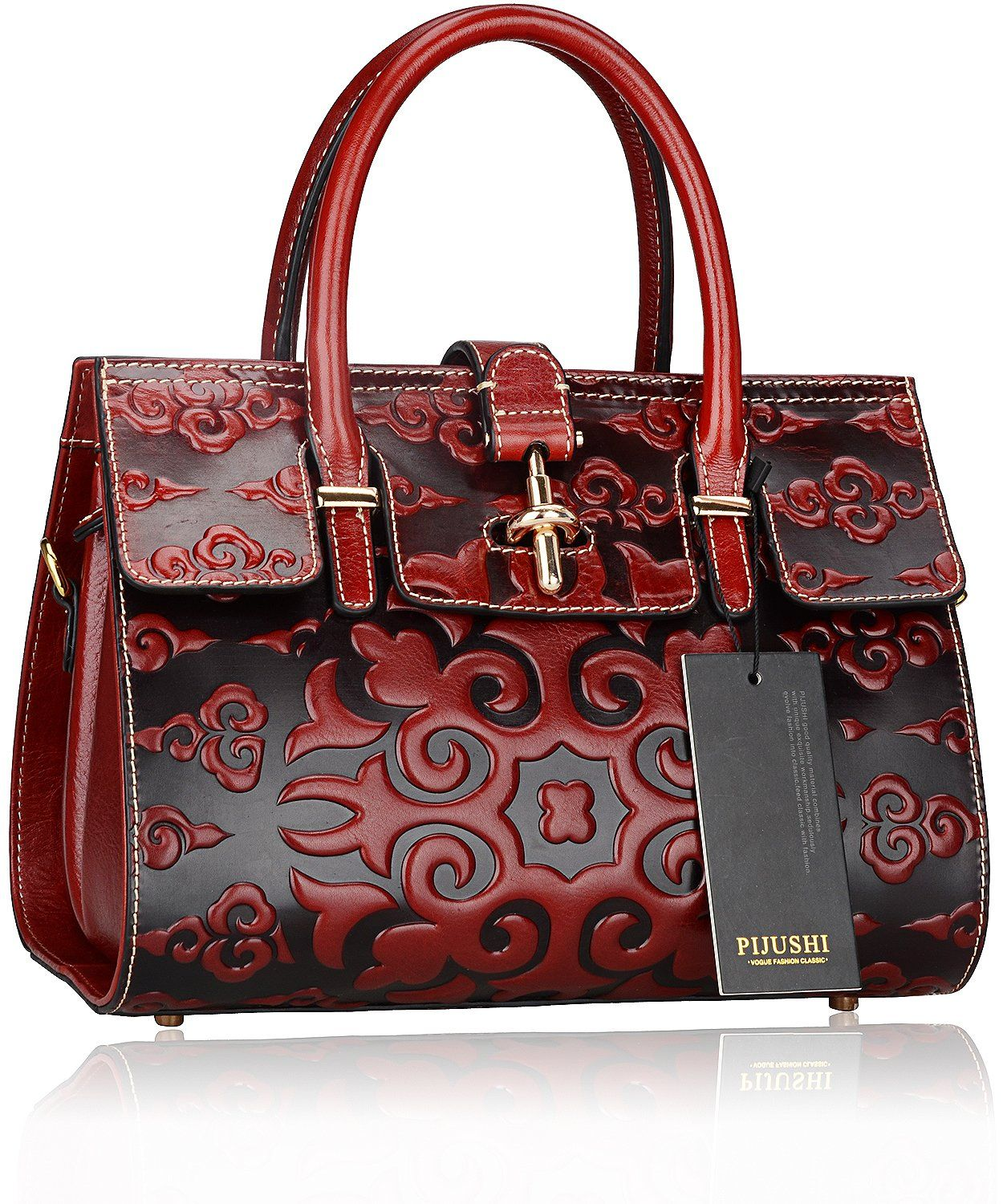 Pijushi Classic Ladies Embossed Floral Leather Tote Satchel Top Handle  Handbags 65098 (Red Luck Flower)  Handbags  AmazonSmile