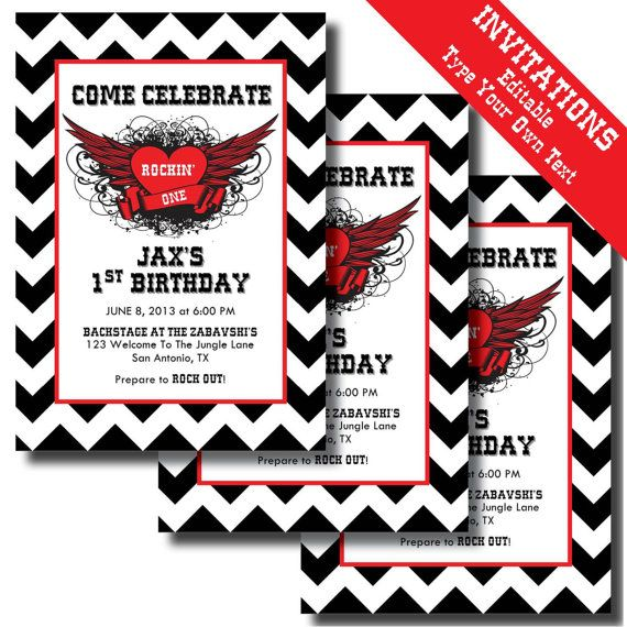 Rock N Roll 1st Birthday Printable Invitations And Party Supplies