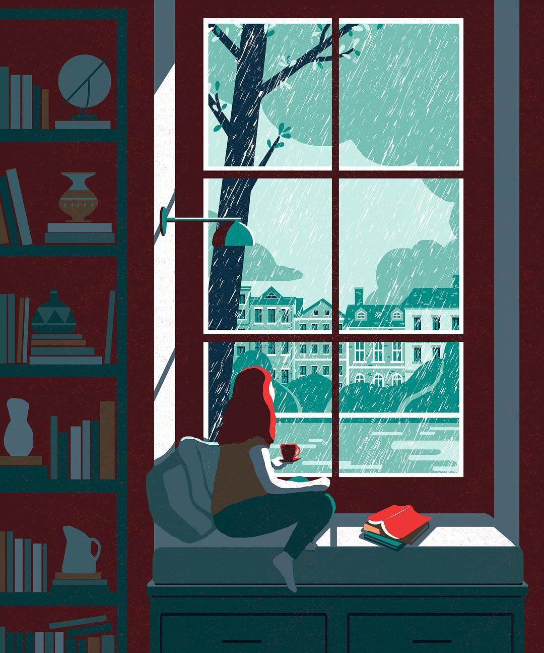 Watching the rain fall  .  .  #illustrationartists#illustration#illustrator#artist#drawing#painting#watching#rain#fall#spring#alone#일러스트레이션#일러스트#드로잉#그림