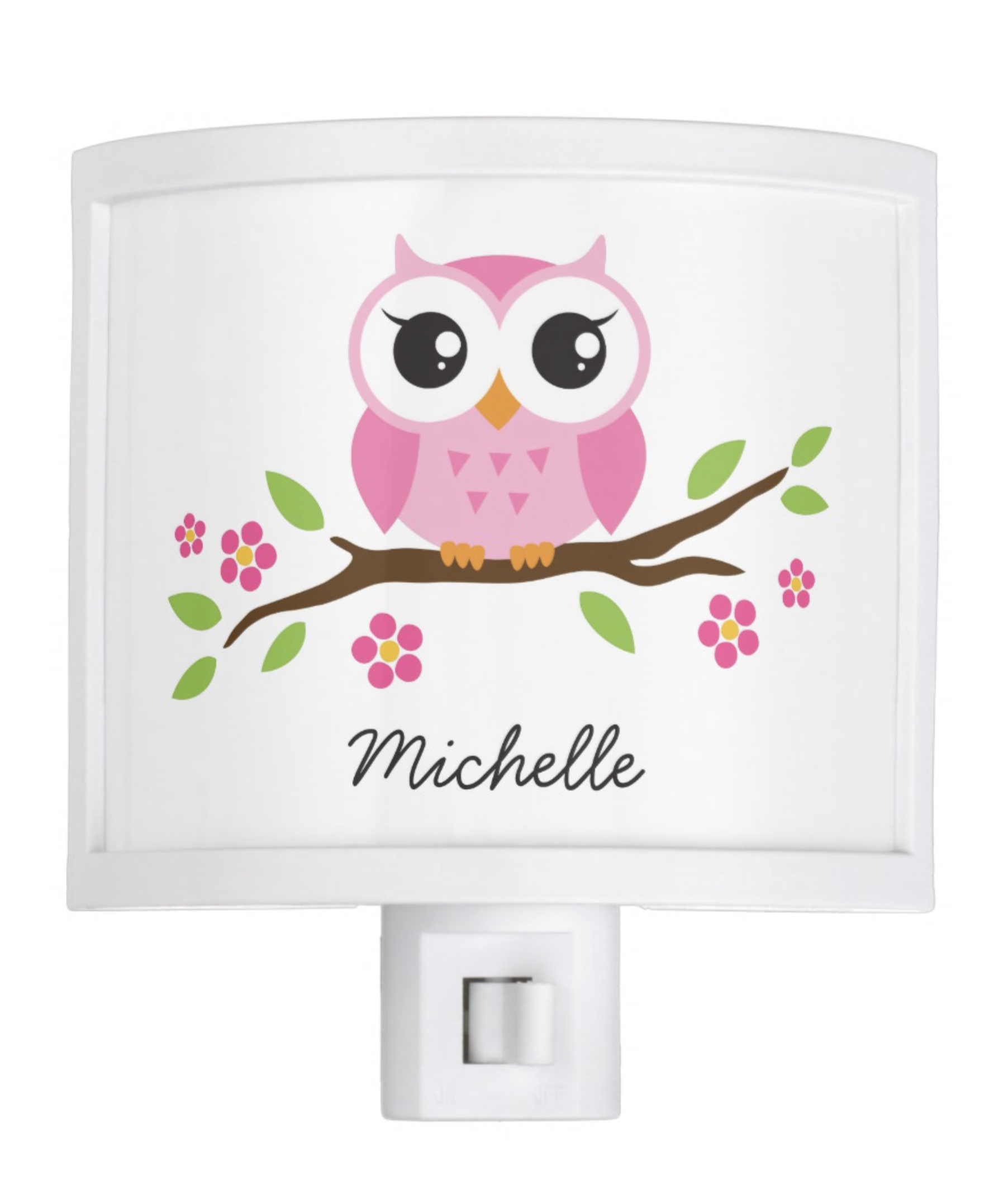 Adorable Pink Owl On Branch Personalized Name Night Light