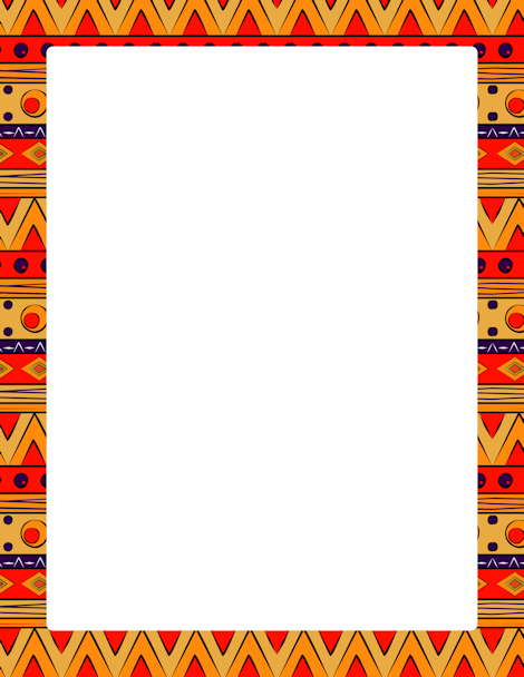 Page Border Featuring Colorful Tribal Patterns Free