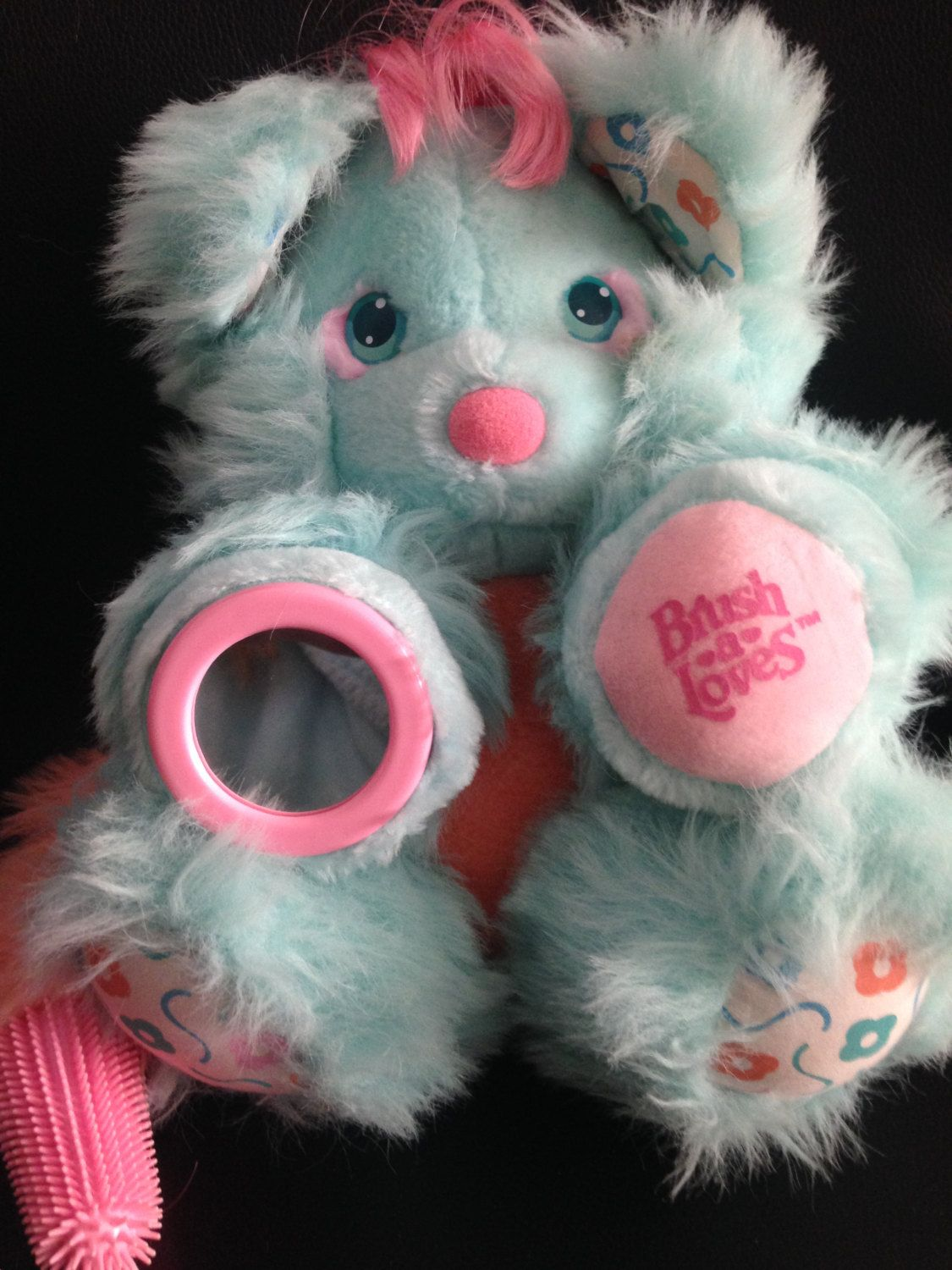 87b2cb307da SOLD RARE Vintage 80s Amtoy Brush A Loves Tutti Cutie Plush Stuffed Toy  Pink   Blue Teddy Bear Lovie 11