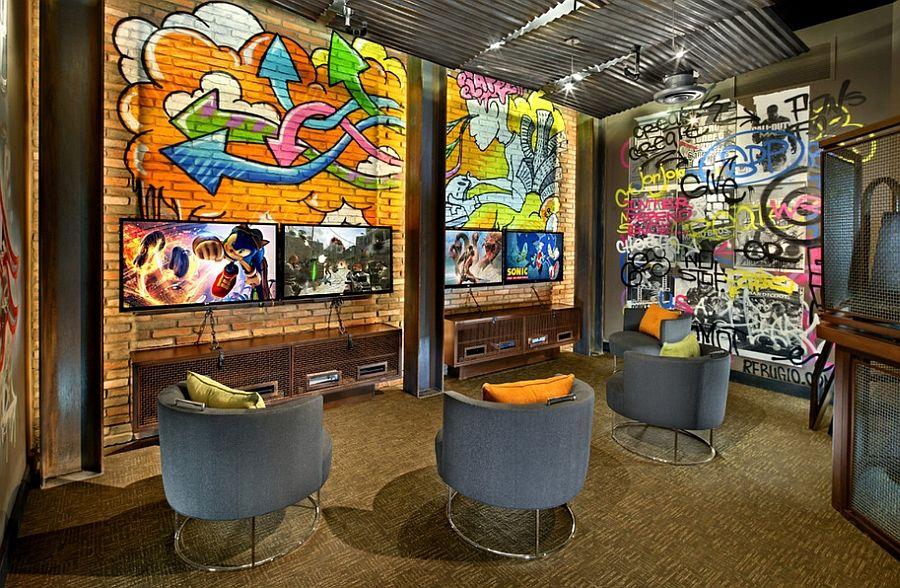 Graffiti Interiors Home Art Murals And Decor Ideas Game Room Design Video Game Rooms Game Room Decor